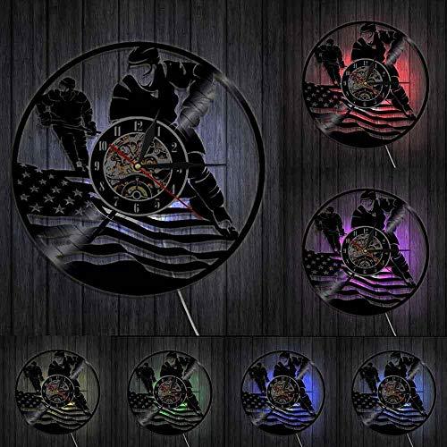 mbbvv Patriotische Flagge Hockey Wanduhr American Hockey Player Vinyl Record Wanduhr Sport Moderne Wohnkultur Uhr