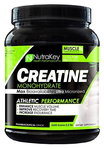 NutraKey Creatine Monohydrate Powder, Ultra-MICRONIZED Preworkout Postworkout Powder, 1000g