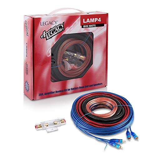 Legacy Car Audio Wiring Kit - 1600 Watt Amplifier Hookup for Battery Head Unit w/ 20ft 4 Gauge Power Wire & Stereo Speaker Installation Sound System, Marine Grade Cable Wired, Gold Plated Fuse - LAMP4
