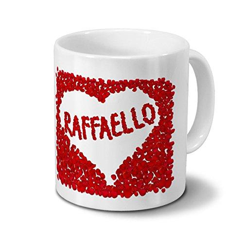 Tasse mit Namen Raffaello - Motiv Rosenherz - Namenstasse, Kaffeebecher, Mug, Becher, Kaffeetasse - Farbe Weiß