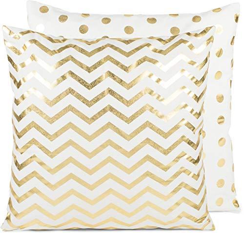 styleBREAKER Cojín Decorativo Reversible de 50 x 50 cm con zig-Zag y Puntos con Cremallera, cojín Decorativo, Almohada Decorativa 07010008, Color:Blanco-Oro