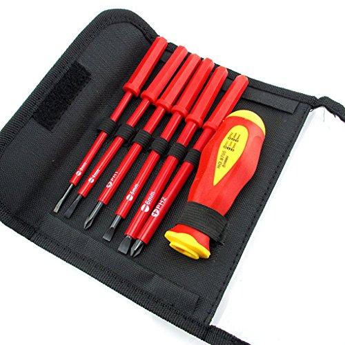 Lorsoul 7PCS / Set Juego de Destornilladores con Aislamiento, Eléctricos CR-V ranurados pH / 1000V, SL Alta Tensión Herramientas de Mano Resistente