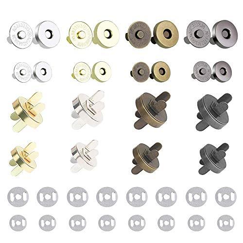 Cierre Magnetico Bolso 14mm y 18mm HO2NLE 40pcs Broches Magneticos para Bolsos Corchetes de Presion Metalicos para Artesanía y Amas en Hacer Bolso Manual y Costurar Chaqueta o Abrigo.