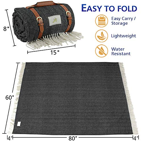 Good Gain Picnic Blanket,Large Picnic Handy Mat with Waterproof Backing, Beach Picnic Rug Foldable with PU Handle Portable for Hiking Camping in Summer Spring or as Festival Gift.Black Stripe