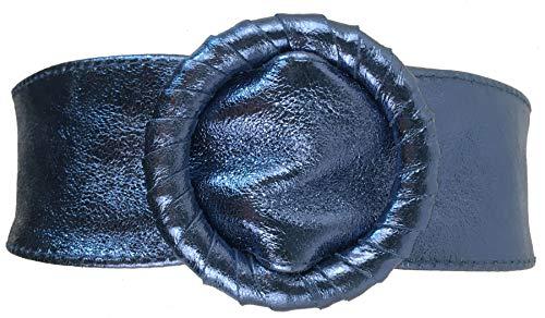 FISH IN THE SEA Echtleder Metallic Blau Boho Gürtel 7cm Taillen und Hüftgürtel Ibiza Lederschliesse, sehr soft