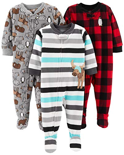 Simple Joys by Carter's pijama de forro polar suelto para bebés y niños pequeños, paquete de 3 ,Arctic Animals/Stripe Mouse/Buffalo Check ,4T