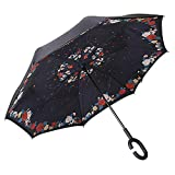 MASTERCANOPY Inverted Umbrella,Double Layer Reverse Windproof Teflon Repellent Umbrella for Car and Outdoor Use, UPF 50+ Big Stick Umbrella with C-Shaped Handle and Carrying Bag, Sleep Flower