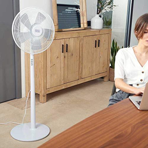 BLACK+DECKER BXEFP60E Ventilatore a Piantana, 60 W, Plastica, Bianco