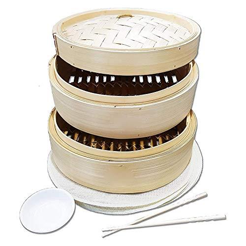 Rich-home 10 Zoll Bambusdämpfer Bambus Dampfgarer Asiatischer Dämpfkorb mit 2 Etagen für Dim Sum, Gemüse, Fleisch und Fisch, mit 2X Essstäbchen, 10X Dampferliner, 1X Saucenplatte