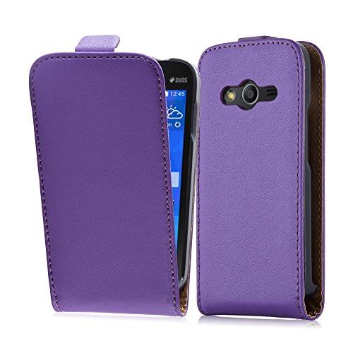Cadorabo Hülle für Samsung Galaxy ACE 4 in Flieder VIOLETT - Handyhülle im Flip Design aus glattem Kunstleder - Hülle Cover Schutzhülle Etui Tasche Book Klapp Style