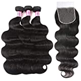 UNice Hair HD Lace Closure 5x5 Invisible Knots Lace Closure with 3 Bundles, Brazilian Body Wave 100% Human Hair with Transparent Lace Closure Natural Color (16 16 16+14inch)