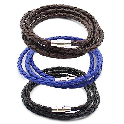Mostop 3 pulseras de cuero para hombre, pulsera trenzada multicapa ajustable, cierre magnético de acero inoxidable, gran regalo para hombres