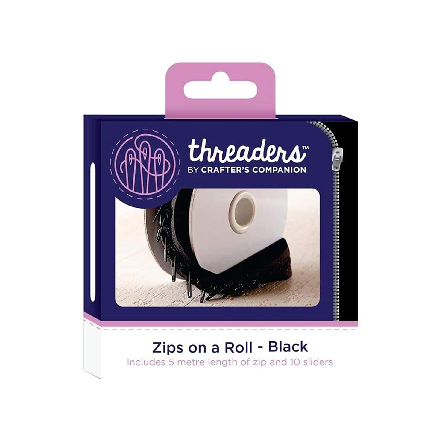 Crafter's Companion TH-1035 Threaders Zips On A Roll Black