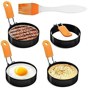 Egg Rings Egg Ring for Frying Eggs Mcmuffins,4 Pack Stainless Steel Egg Cooking Rings with Anti-scald Handle Non Stick Coating Oil Brush,Egg Mold for Perfect Pancake Sandwich McMuffin