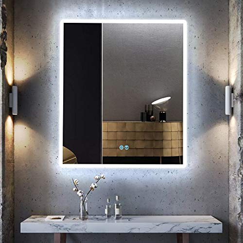 LVSOMT 24 x 28 Inch Bathroom LED Lighted Mirror, Anti-Fog Wall-Mounted Makeup Vanity Mirror with Lights, 6000K White Light, IP54 Waterproof, Touch Screen Switch, Horizontal/Vertical