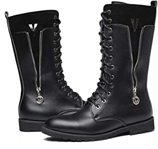Xujw-shoes store, 2019 Mens New Lace-up Flats Mid Calf Boot for Men Military Boot Round Toe Lace Up Durable Comfortable PU Leather Anti-Slip Rubber Sole Side Zipper (Fleece Inside Optional) Black
