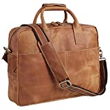 Texbo Genuine Full Grain Leather Men's 16 Inch Laptop Briefcase Messenger Bag Tote with YKK Metal Zippers(Light Brown)