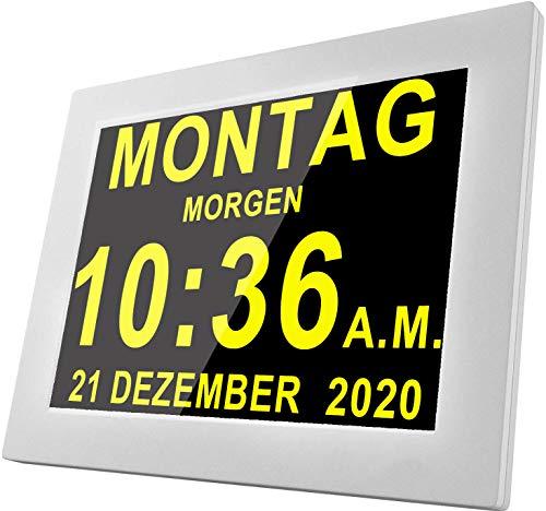 Véfaîî 【21 Alarme】 Seniorenuhr 8 Zoll Digitale Kalender und Foto-Funktion - Digitale Uhr, Wecker, Kalender für Senioren & Demenzkranke (z.B. Alzheimer) mit Erinnerungsfunktion (Weiß)
