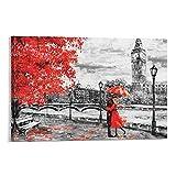 Póster artístico de Londres Big Ben con diseño de paraguas rojo y flores, impresión artística de pared, diseño moderno para dormitorio familiar, 30 x 45 cm