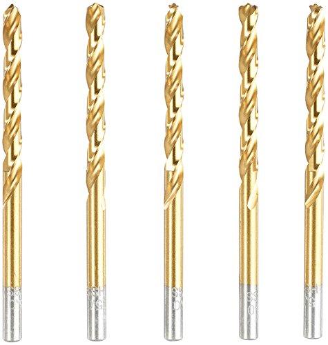 AGT HSS-Spiralbohrer: HSS-Bohrer-Set für Metall, Titan-beschichtet, 6 mm, 5 Stück (Metallbohrer)