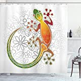 Ambesonne Batik Shower Curtain, Native Southeast Common House Gecko Moon Lizard Tropical Monster Graphic Design, Cloth Fabric Bathroom Decor Set with Hooks, 70' Long, White Orange