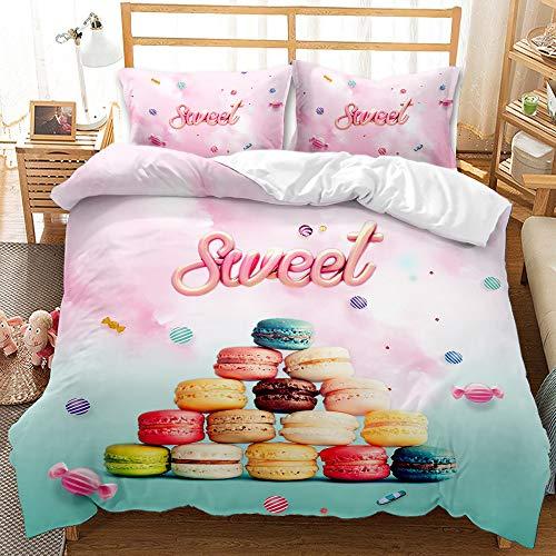 Donut - Juego de funda de edredón para cama king y postre con diseño de alimentos, diseño de colores para niños, niñas y adultos, microfibra suave (1 funda de edredón y 2 fundas de almohada)