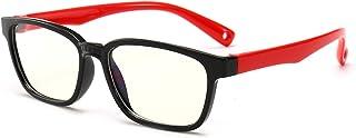 FOURCHEN Gafas de luz anti-azul para niños Gafas de computadora, protección UV Gafas antirreflejo Gafas de computadora Gafas de videojuegos para niños (Black-red)