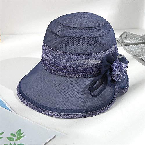 Ybzx Sombrero de Seda para Mujer, Sombrero para el Sol de Verano, protección Solar para Viajes, Sombrero para el Sol, Sombrero de Playa de Seda Plegable, Sombrero Fresco para Mujer