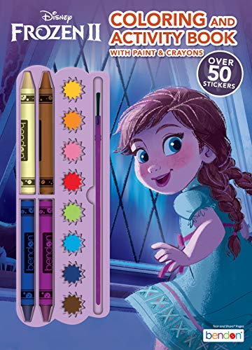 Disney Frozen 2 Anna 128-Page Color and Paint Activity Book with 8 Paints, 4 Crayons and Stickers 45818 Bendon