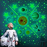 Glow in The Dark Stars and Planets, Bright Shining Galaxy System Mini Wall Stickers, Solar System, Sun-Earth Mars, 9 Glowing Ceiling Decals for Bedroom Living Room, Shining Space Decoration for Kids