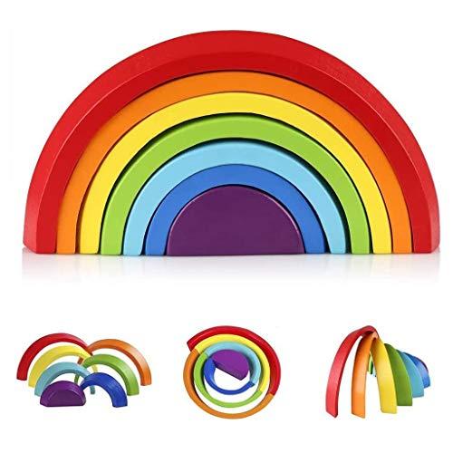 LSZ Creatividad Arco Iris de Madera Bloque de construcción Puzzle Forma de Color Reconocimiento de Color Entrenamiento práctico Formación Early Childhood Education Puzzle Juego Juguetes de Bebe