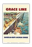 Pacifica Island Art Caribe-South American cruceros-Grace Line-nativos de Buceo para Monedas-Viaje del Vintage del Revestimiento Marino Impresiones por Carl G. Evers c.1952-Arte Master Print-13inx19