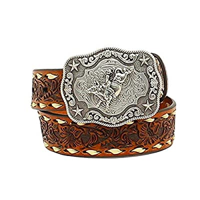 Nocona Boots Boys Boys Brown Floral Tooled Belt with Buckstitching and Buckle 18 Tan