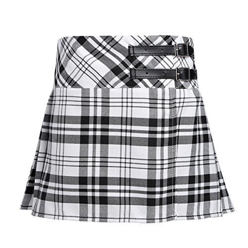 Freebily Niñas Falda Escolar de Cuadros Escocesos Falda Corta Plisada
