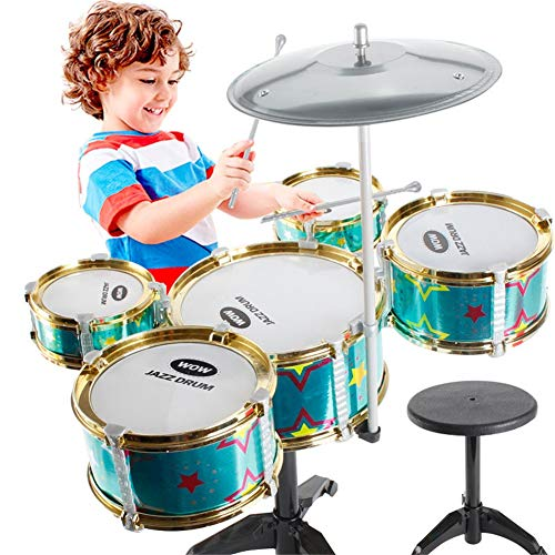 Kinder 5-teiliges Schlagzeugset Mit Stühlen Jazz-Schlagzeug Musikinstrumente für Kinder Spielzeug,Green