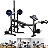 Olympic Weight Bench, Adjustable Weightlifting Bench Multi-Function Weight Bench with with Squat Rack, Leg Extension,Weight Storage, Adjustable Olympic Weight for Exercise (US Spot,Black)