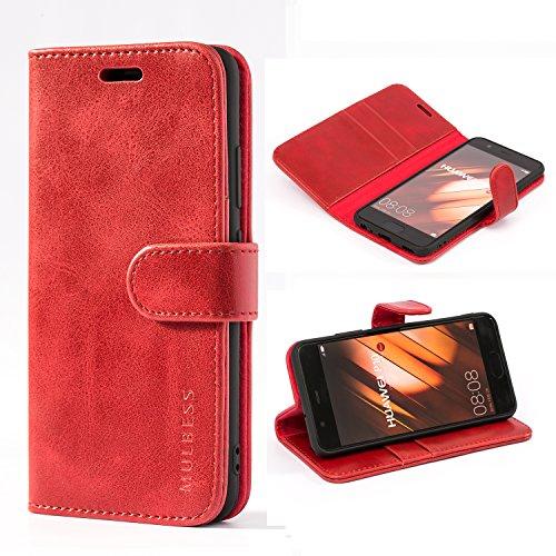 Mulbess Handyhülle für Huawei P10 Hülle Leder, Huawei P10 Handy Hülle, Vintage Flip Handytasche Schutzhülle für Huawei P10 Hülle, Wein Rot