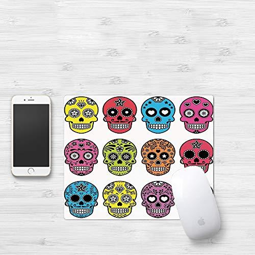 Mauspad mit genähten Kanten,Schädel, reich verzierte bunte traditionelle mexikanische Halloween Schädel S,rutschfeste Gummi-Basis-Mousepad, Gaming und Office mauspad für Laptop, Computer & PC320x250mm