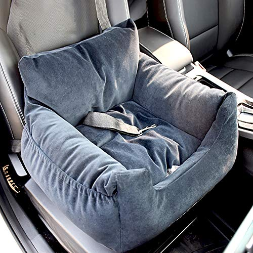 HYISHION Dog Car Seat - 2 in 1 Car Seat Cover with Waterproof & Nonslip, Removable Cover & Cushion, Perfect for Cars, Trucks and SUVs,Gray,60 * 56 * 30cm
