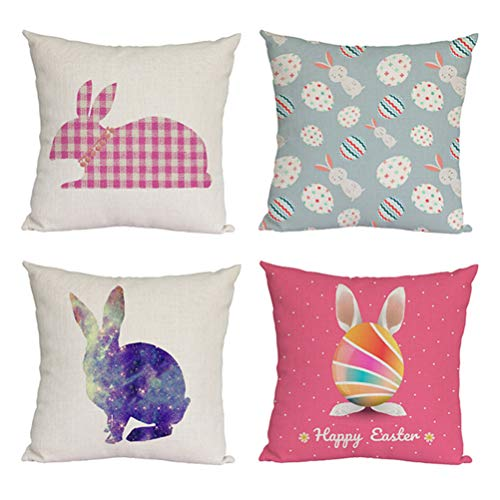 jemous Easter Pillow Case Throw Covers Decoration Rabbit Printed Decorative Pillow Cases for Bedroom Car Couch Living Room Sofa Office Party Bedding