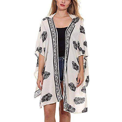 FRAUIT Mantel Damen Frauen Blumendruck Strand lose Schal Kimono Cardigan Top Cover Bluse Jacke Kurz Cardigan Reißverschluss Sommerjacke Herbst Mantel