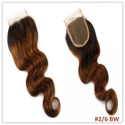 100% cheveux naturels vierges Wave Texture Fermeture Dentelle Suisse sur le dessus 10,2 x 10,2 cm supplémentaire gratuit avec blanchis Couleur 2 #/6 #