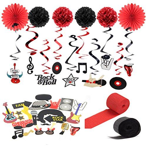 SUNBEAUTY Rock and Roll Decoration Musique Anniversaire Tourbillon Suspendu Rouge Noir Photobooth Musique Accessoires Musical Maison Deco Kit