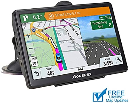 GPS Navigation car,[2019 Upgraded Version] 7 inch HD Capacitive Touch Screen GPS Navigation System with 8G Memory, Attach Sunshade,Free Lifetime Maps Update,Pre-Install North America map
