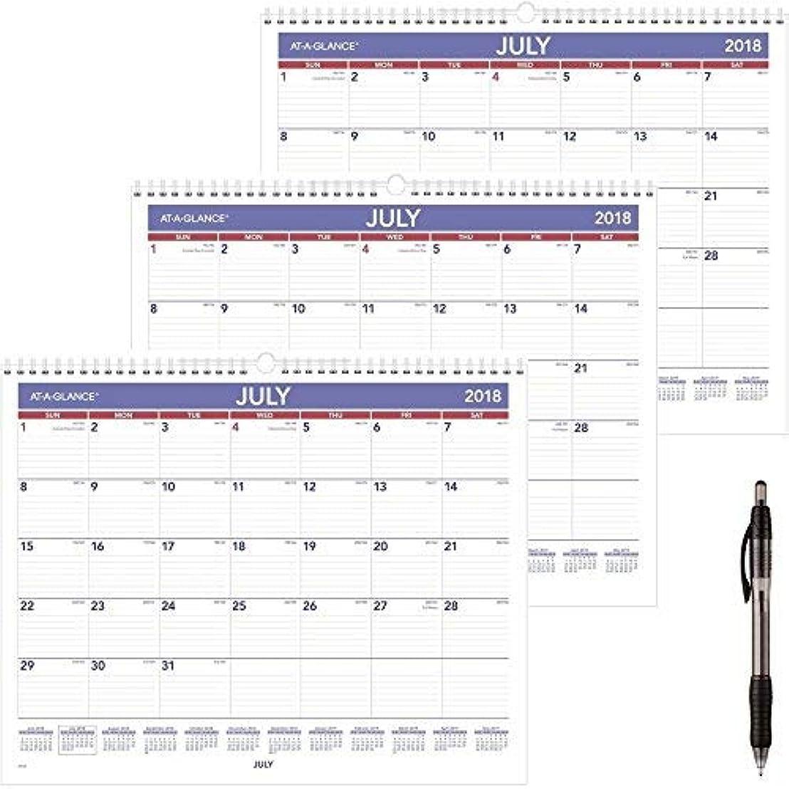寝具恒久的反抗at-A-Glance 2018-2019 Academic Year Wall Calendar Medium 15 x 12 Wirebound (AY828) 3 Pack - Bundle Includes Black Ballpoint Pen [並行輸入品]