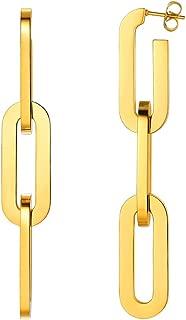 Oversize Statement Earrings for Women 18K Gold Plated Stainless Steel Long Dangle Hoop Earrings DIY Asymmetrical Earrings