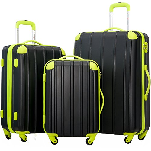 Merax Mixed Color 3 Piece Spinner Luggage Set with TSA Lock