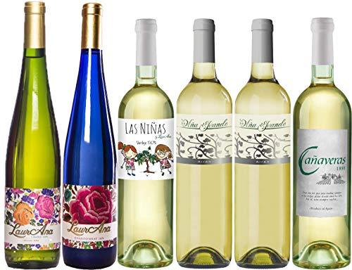 Bodegas Cañaveras Degustación Vinos Blancos - Lote de 6 botellas Vino de la Tierra de Castilla- Pack 6 x 750 ml