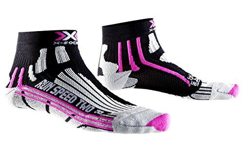 X-Socks Run Speed Two Lady - Calza Running, Donna, Nero (Black/Fuchsia), 35/36