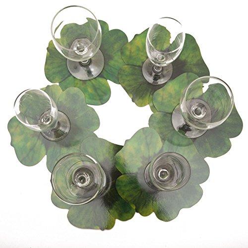 ROSEMARIE SCHULZ® 12-er Set Blumen Glasuntersetzer Kleeblatt Grün - Bar, Kaffee, Tee, Bier und Wein Glas Untersetzer, 16x16cm